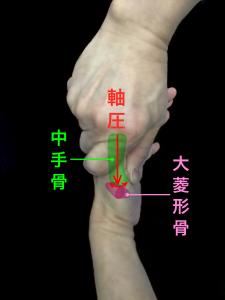 CM関節軸圧痛の確認方法|大阪市住吉区長居藤田鍼灸整骨院